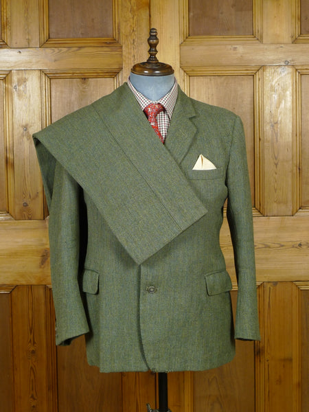 19/0892 vintage 1971 welsh & jefferies savile row bespoke green herringbone heavyweight tweed suit 41 short