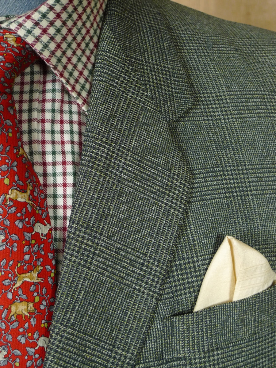 19/0917 far east bespoke tailor canvassed worsted twist green glen check suit 43 short