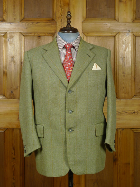 19/0914 vintage savile row bespoke green wp check tweed jacket 45 short