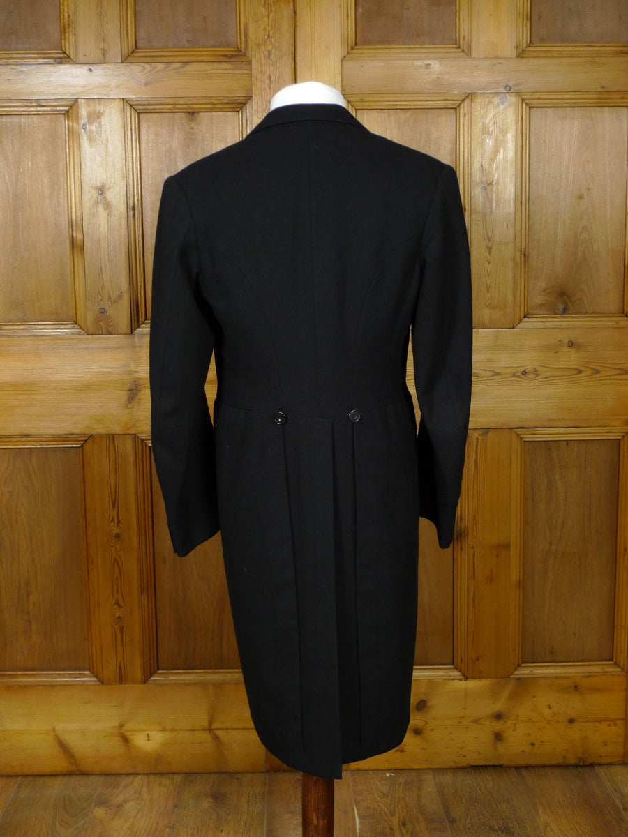 19/0928 near immaculate genuine 1930s vintage black herringbone wool morning coat 37 short to regular