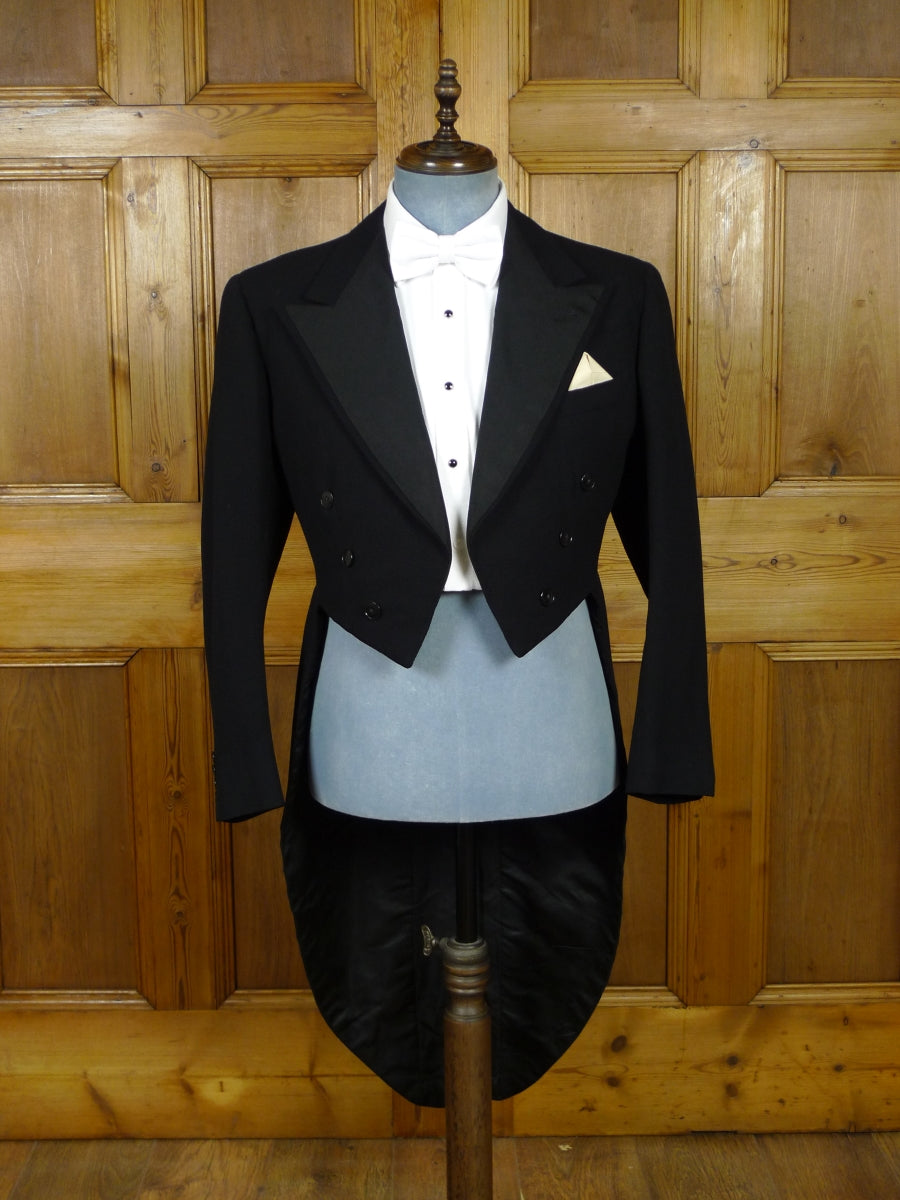 19/0958 stunning 1951 vintage savile row bespoke black barathea / grosgrain silk evening tailcoat 41 regular to long