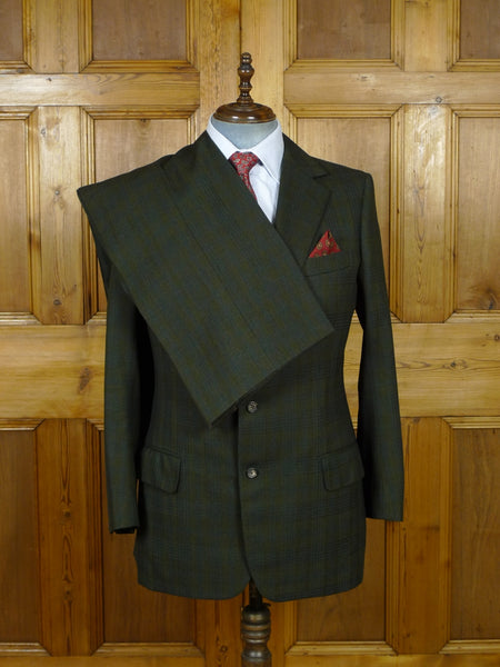 19/0951 norton & sons 1976 vintage savile row bespoke 2-tone green check worsted twist suit w/ contrast linings 42 regular