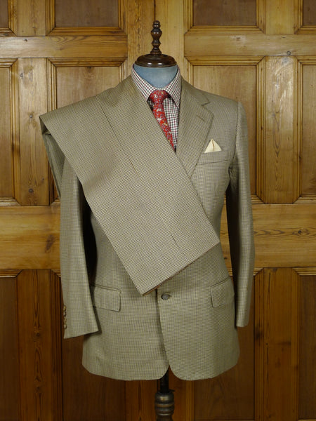 19/0966 vintage 1981 norton & sons savile row bespoke beige puppytooth worsted suit 42 regular