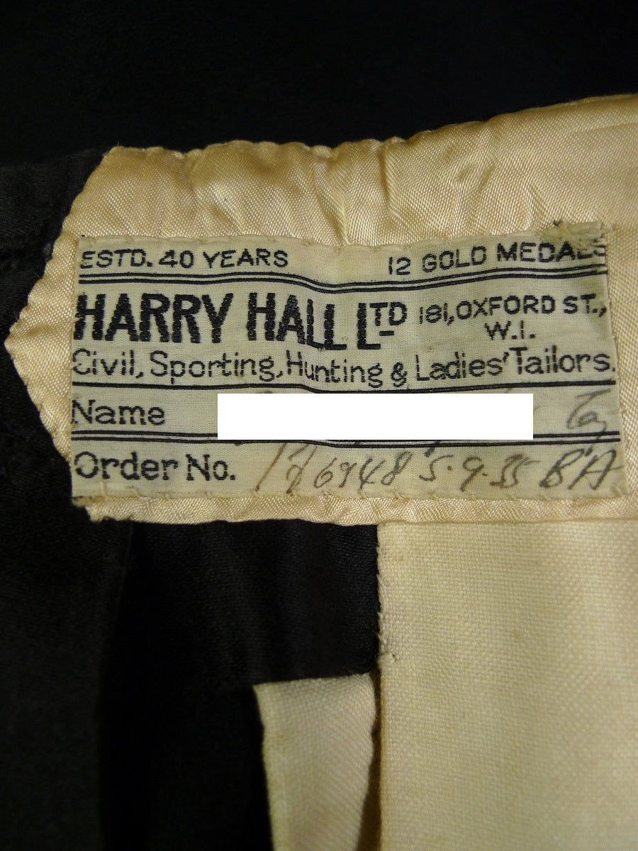 19/0994 stunning 1935 vintage harry hall bespoke black evening tails suit (high-rise trouser) 36-37 short to regular