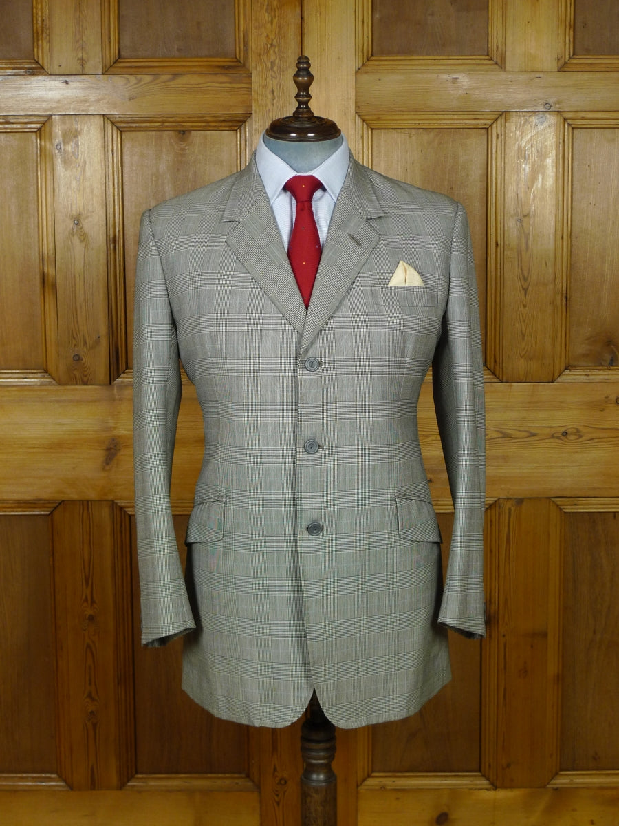 19/1505 vintage bespoke tailor canvassed grey / blue prince of wales check worsted suit 41-42 long