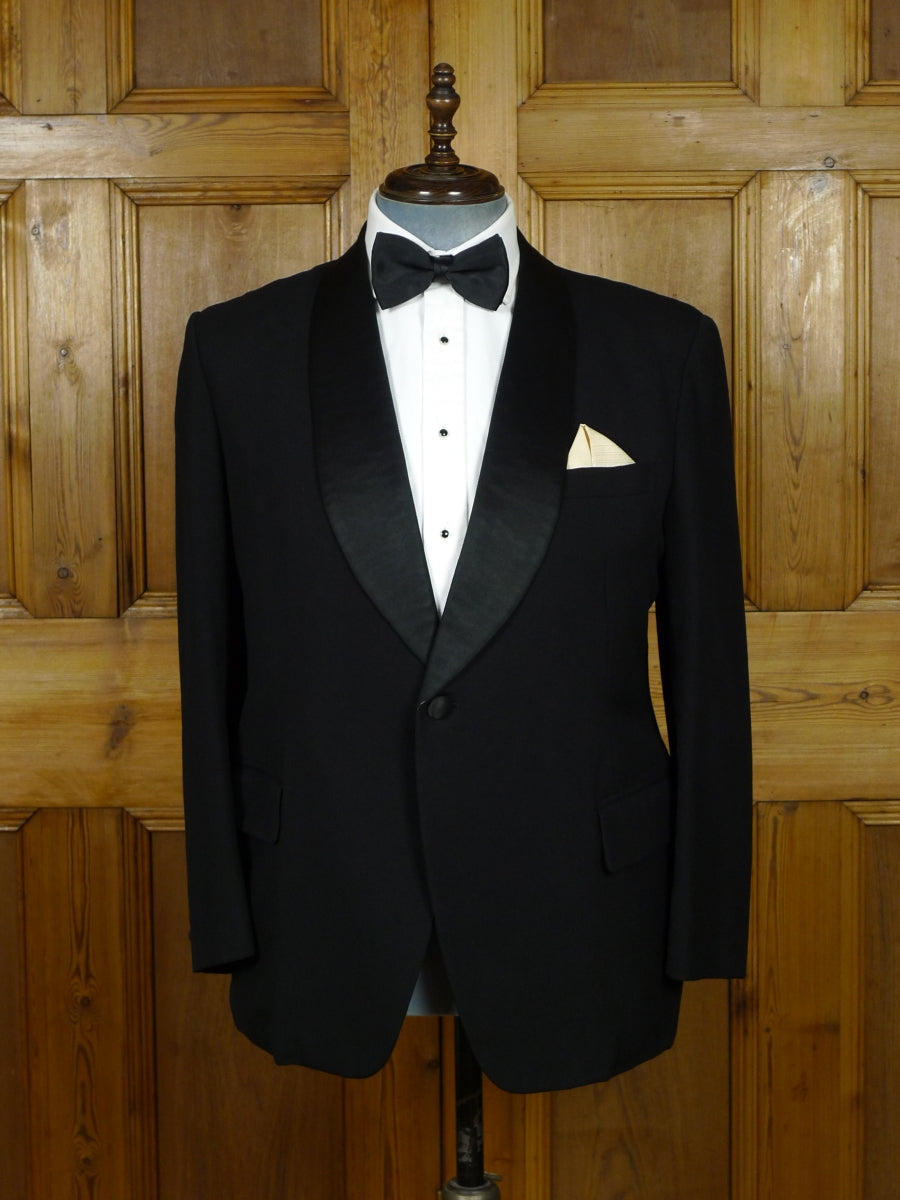 19/1004 superior far east bespoke tailor canvassed black barathea silk shawl dinner jacket 42 short