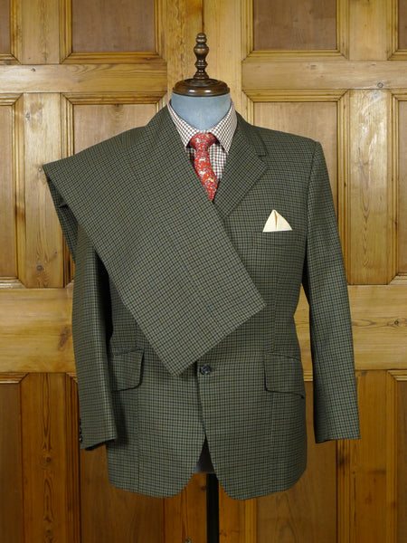 19/1006 wonderful vintage bespoke tailor canvassed green / brown gun check heavyweight worsted country suit 40 short