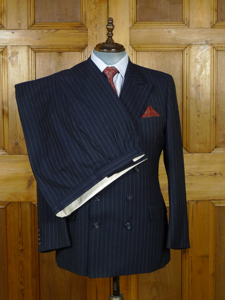 19/1017 vintage blades savile row navy blue rope-stripe worsted suit w/carrier 42 short