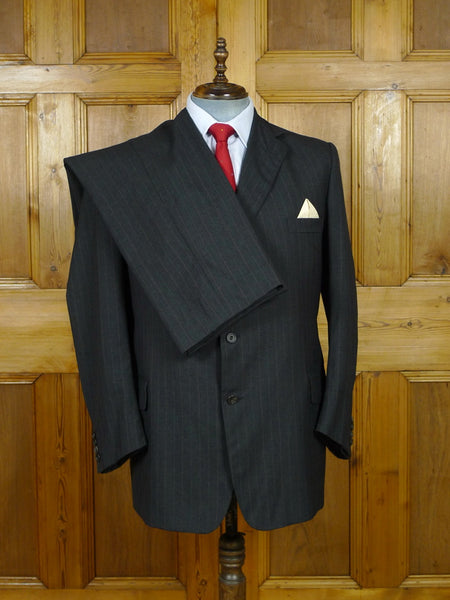 19/1506 vintage henry poole savile row bespoke grey / red pin-stripe worsted suit (portly cut) 41