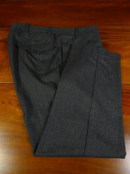 19/1512 immaculate malcolm plews savile row bespoke grey worsted flannel trouser 44