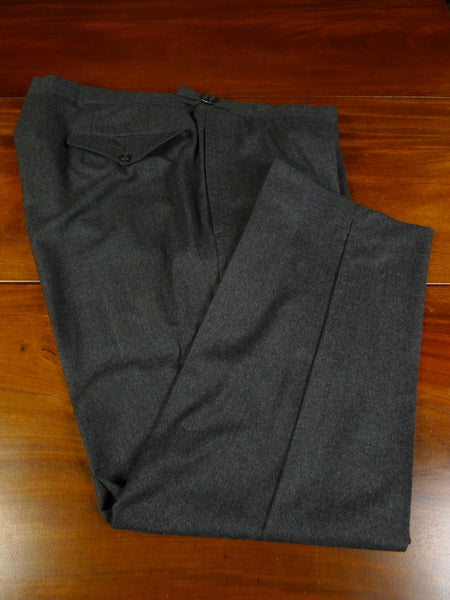 19/1511 immaculate malcolm plews savile row bespoke grey worsted flannel trouser 44