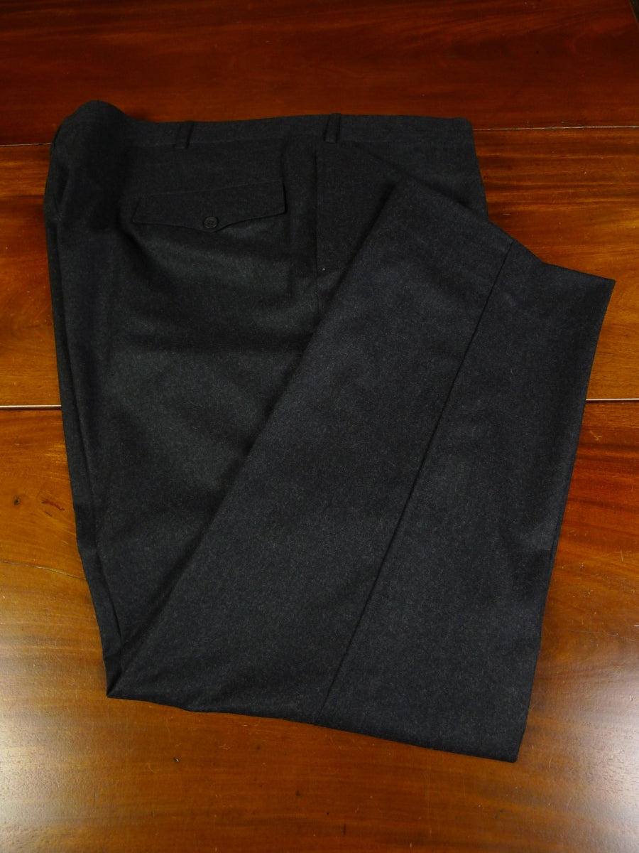 19/1510 immaculate malcolm plews savile row bespoke charcoal grey worsted flannel trouser 47