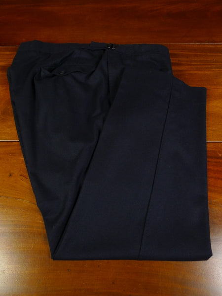 19/1082 immaculate 2016 malcolm plews savile row bespoke navy blue worsted flannel trouser 44