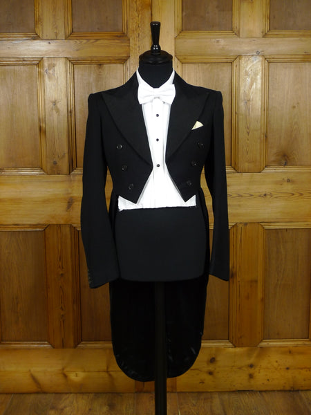 19/1067 genuine 1930s vintage black barathea wool / silk evening tailcoat tails 35 long