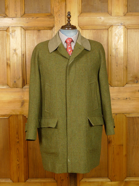19/1138 stunning near immaculate norton & sons savile row bespoke green wp check tweed shooting coat w/ tattersall linings 44