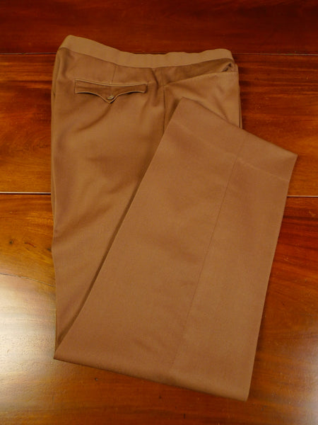 19/1164 immaculate vintage savile row bespoke high-rise brown worsted trouser 38