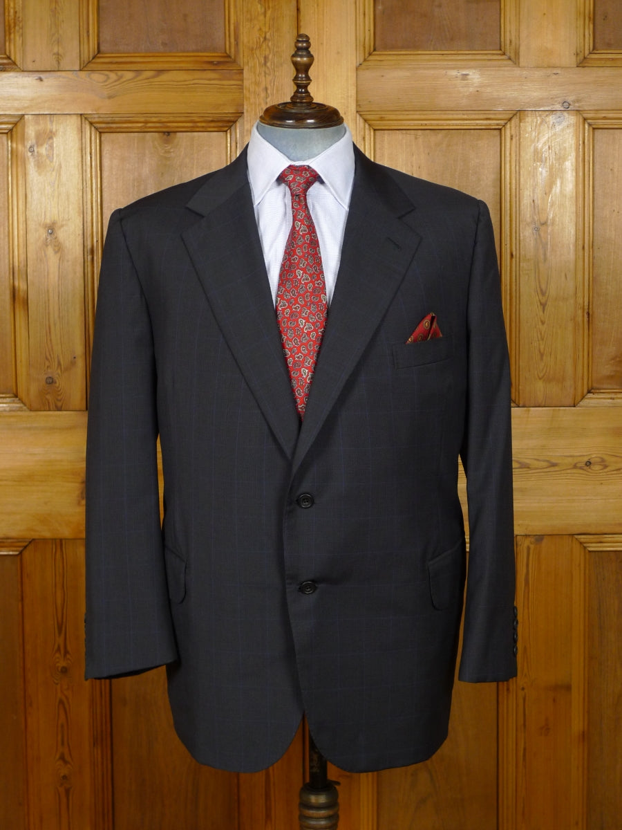 19/1176 vintage 1999 sulka bespoke tailored canvassed navy blue wp check luxury wool suit 49 short
