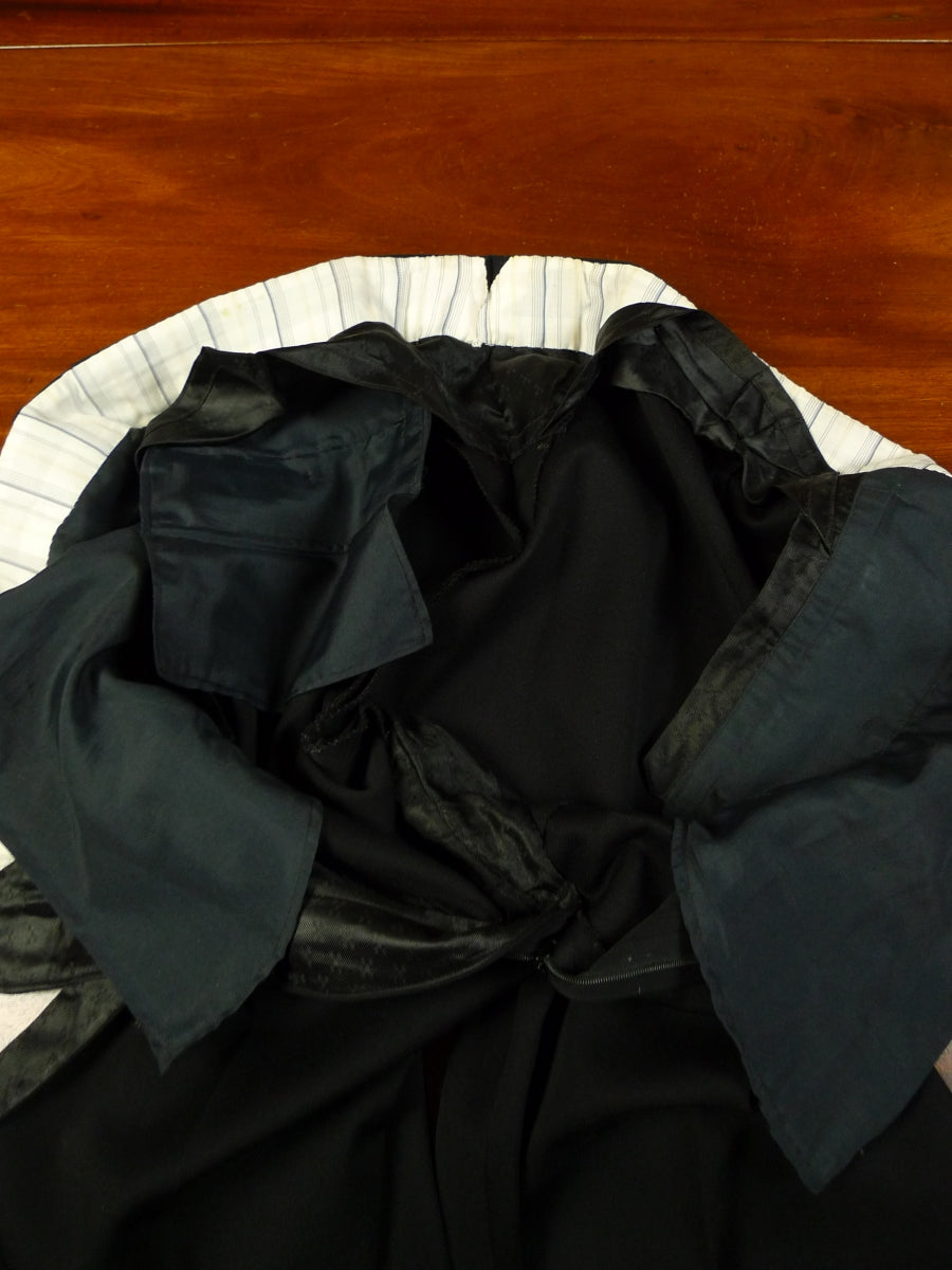 19/1181 immaculate vintage savile row bespoke black wool high-rise evening trouser 39