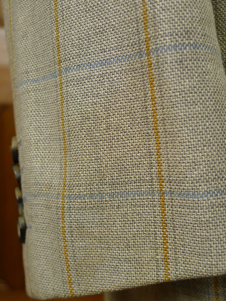 19/1172 italian 55% silk lightweight unlined wp check sports jacket blazer 40-41 regular