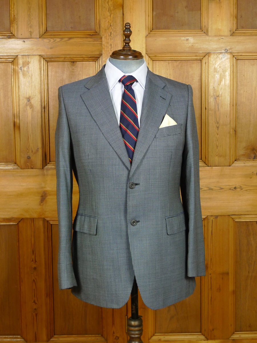 19/1189 daks london wool 7 14% silk blue fine check sports jacket blazer 42 regular to long