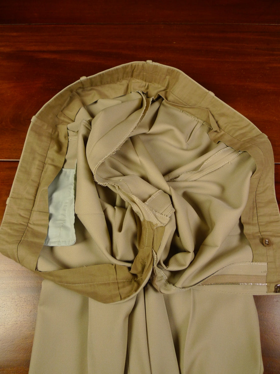 19/1262 immaculate vintage savile row bespoke beige worsted twill trouser 39