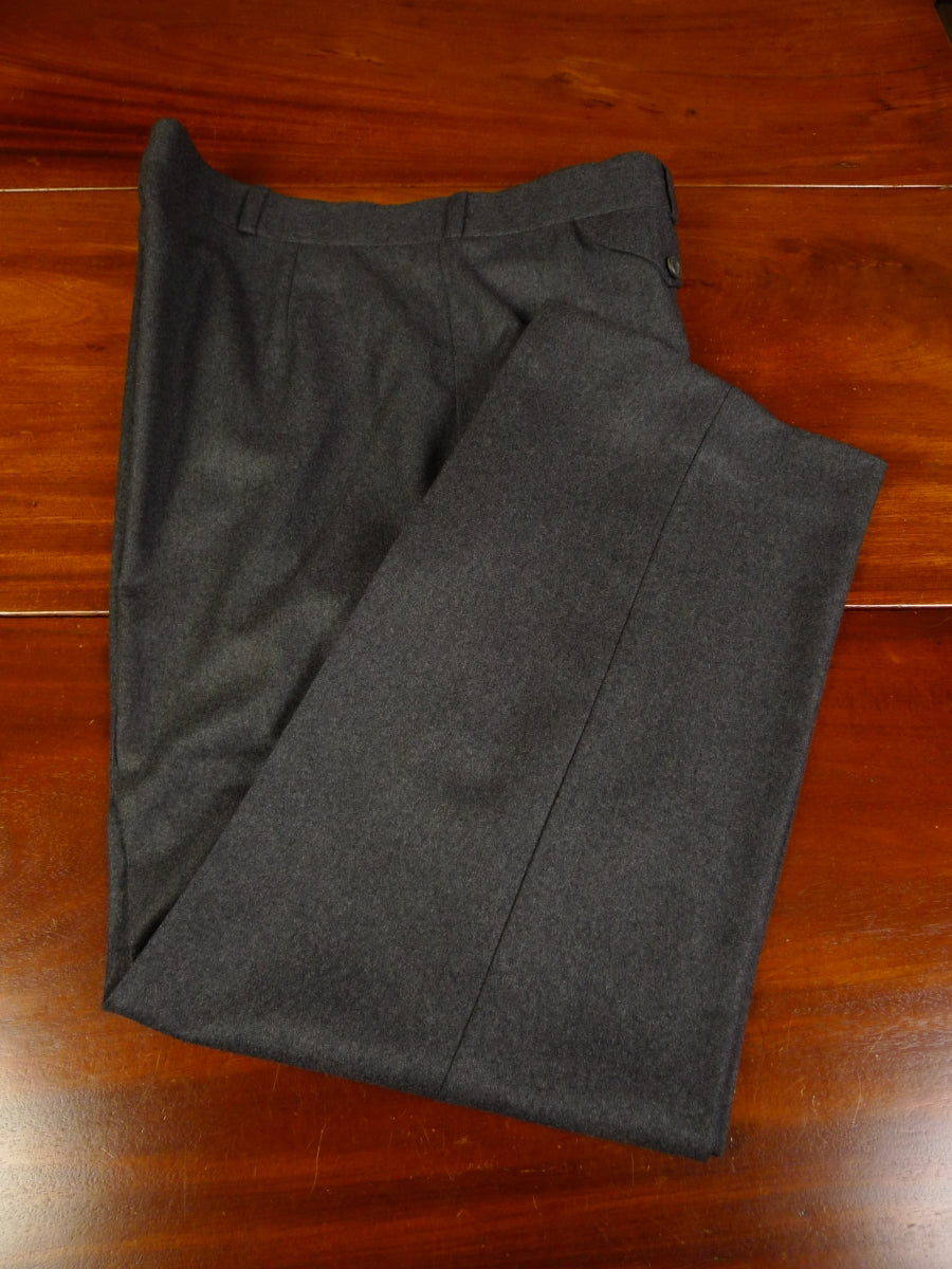 19/1299 immaculate vintage bespoke tailored grey worsted flannel high-rise trouser 40