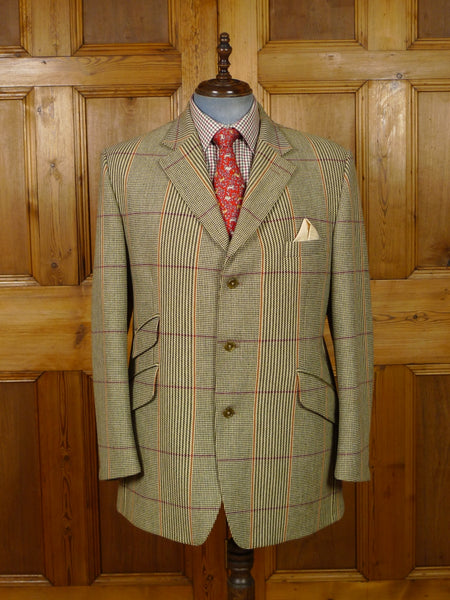 19/1314 near immaculate crombie sporting check tweed hacking style jacket 46 regular