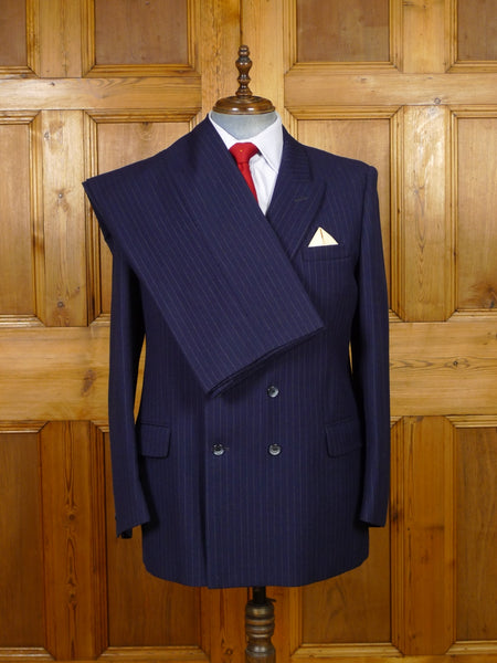 19/1319 vintage isaac walton tailor heavyweight navy blue pin-stripe d/b worsted suit 43 regular