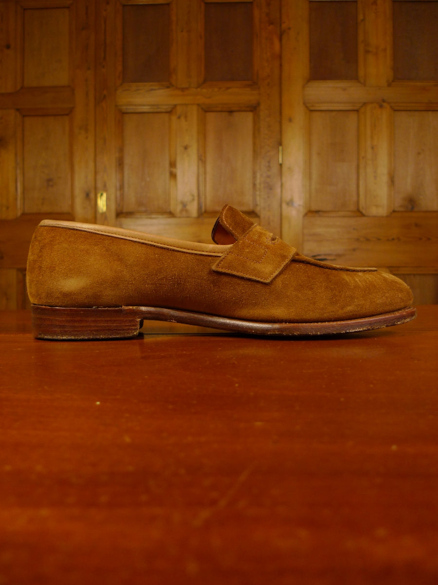 19/1325 excellent grenson tan brown suede penny loafer shoe 9 (rrp £245)