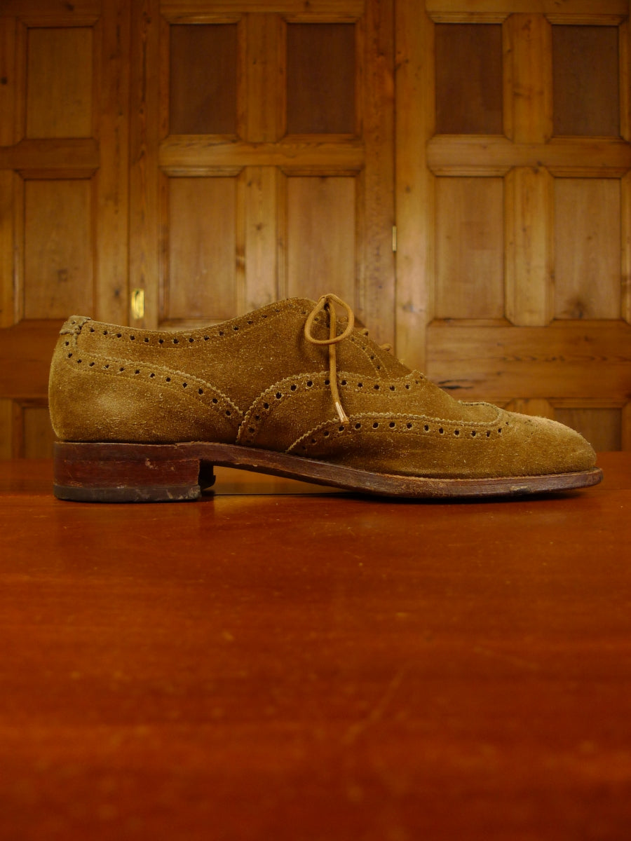 19/1328 excellent russell & bromley tan brown sued brogue shoe 9.5