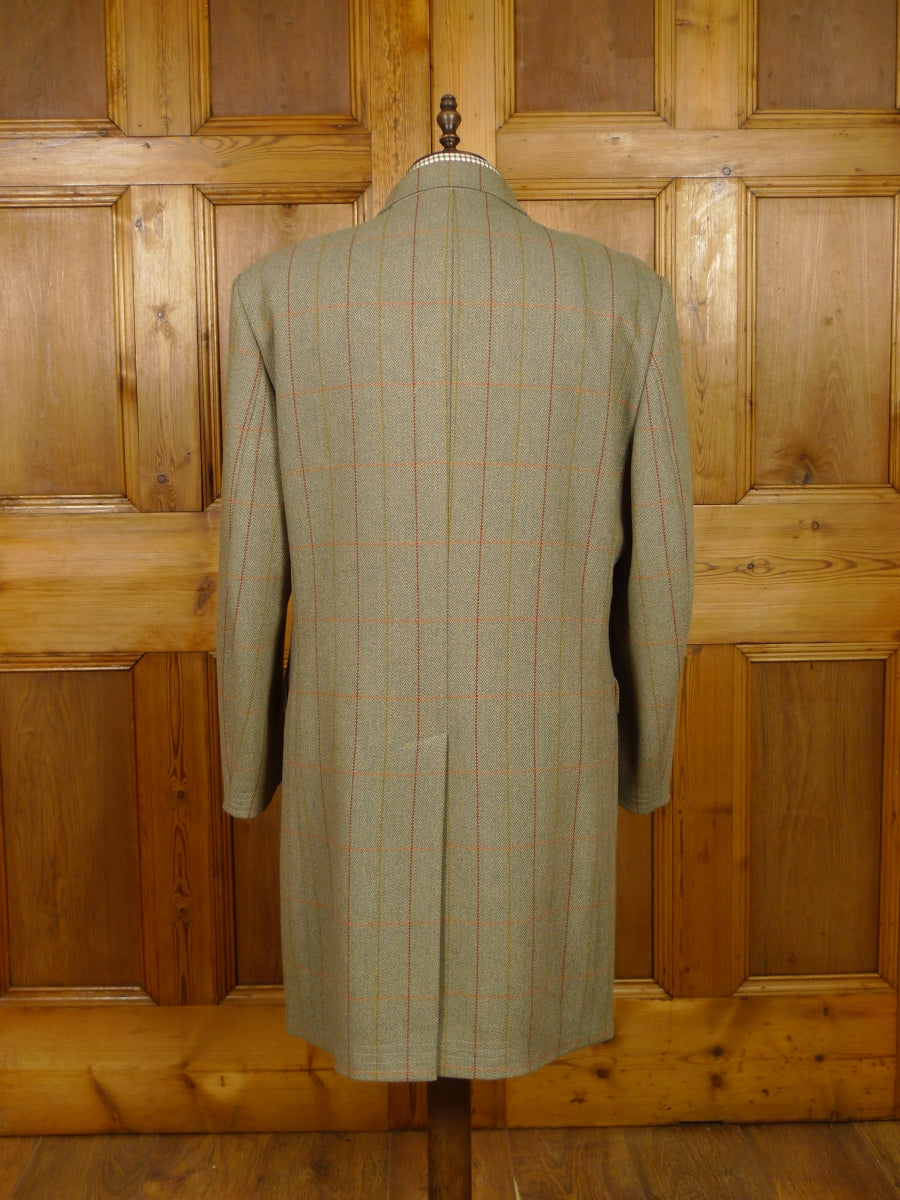 19/1331 bladen supasax green windowpane check tweed paddock coat 46 regular