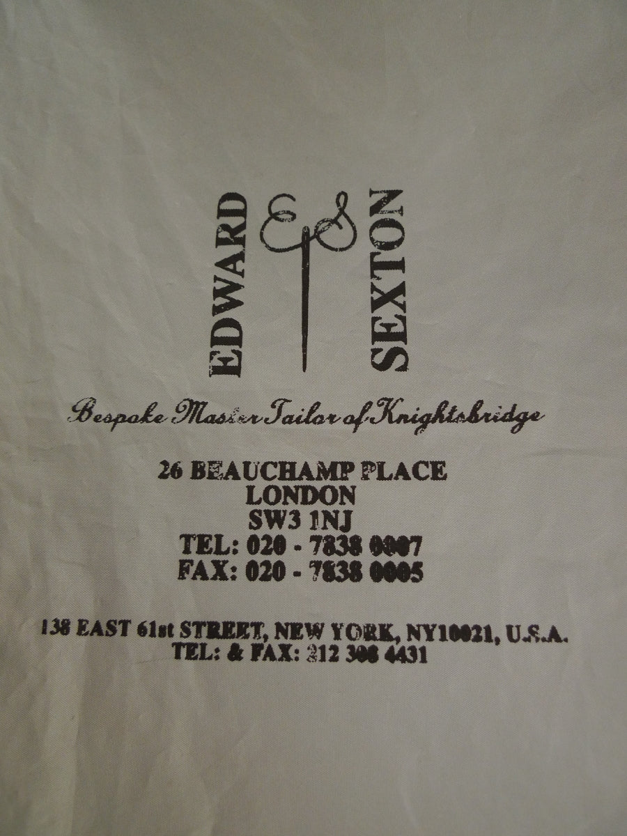 19/1532 edward sexton savile row bespoke grey plastic suit carrier bag