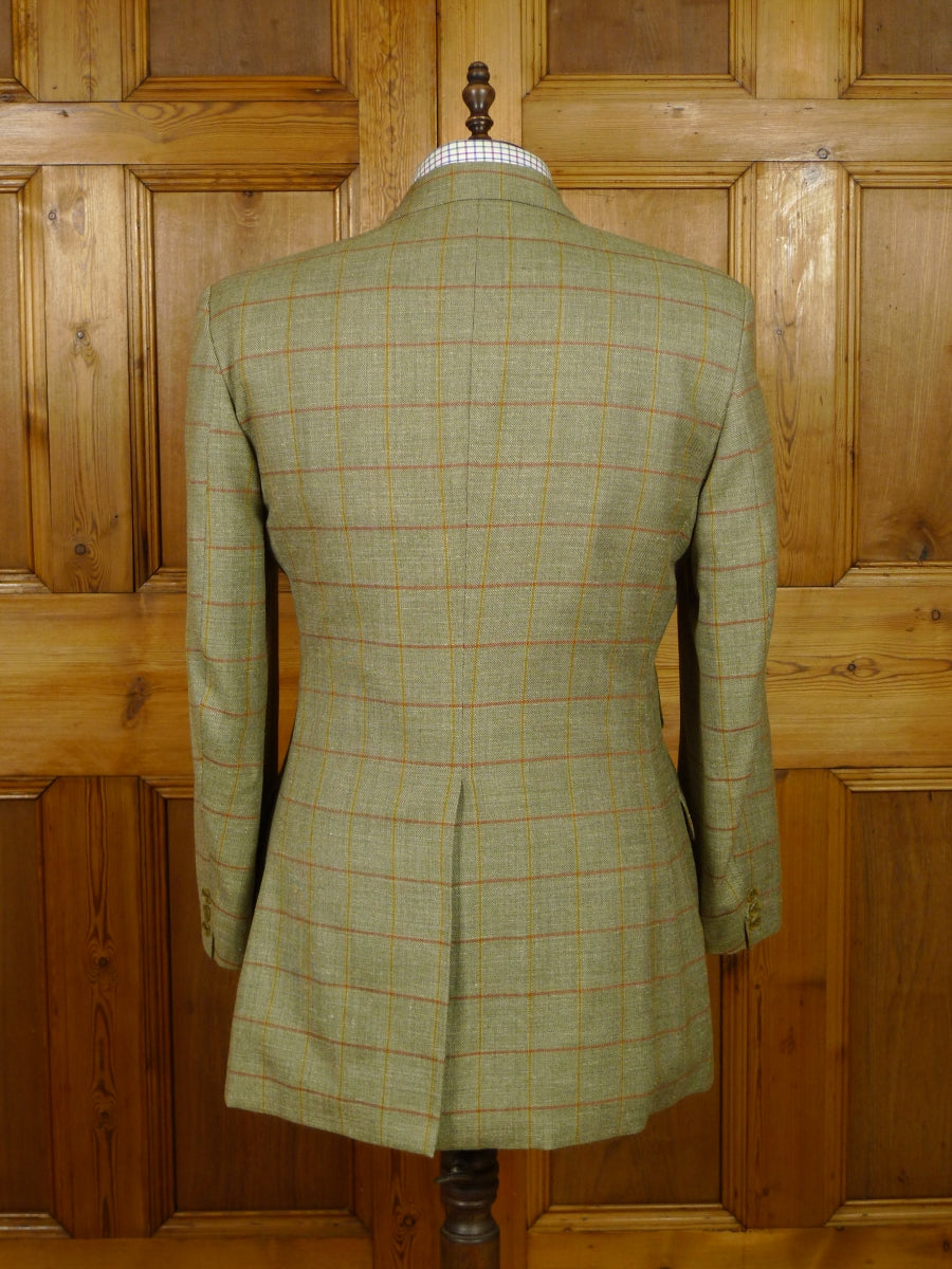 19/1370 near immaculate daks wool silk linen green wp check sports jacket blazer 42 regular