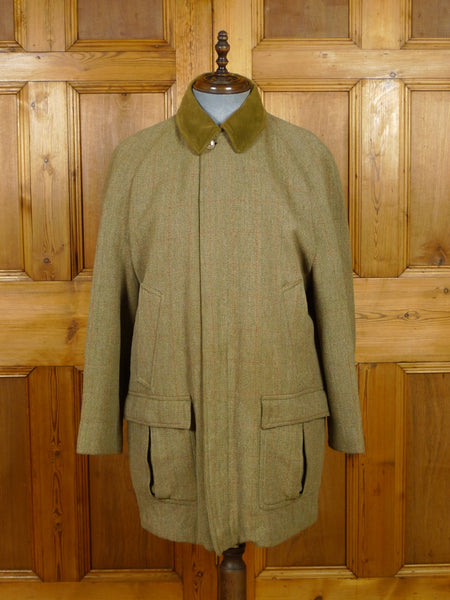 19/1351 superb vintage invertere derby tweed field coat w/ moleskin collar 42-44