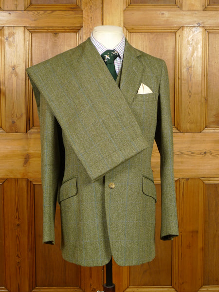 19/1353 superb vintage jones chalk & dawson savile row bespoke green / blue wp check tweed 3-piece suit 37 long