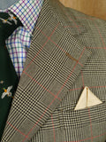 19/1347 vintage bespoke tailored prince of wales check suit jacket blazer 38 regular