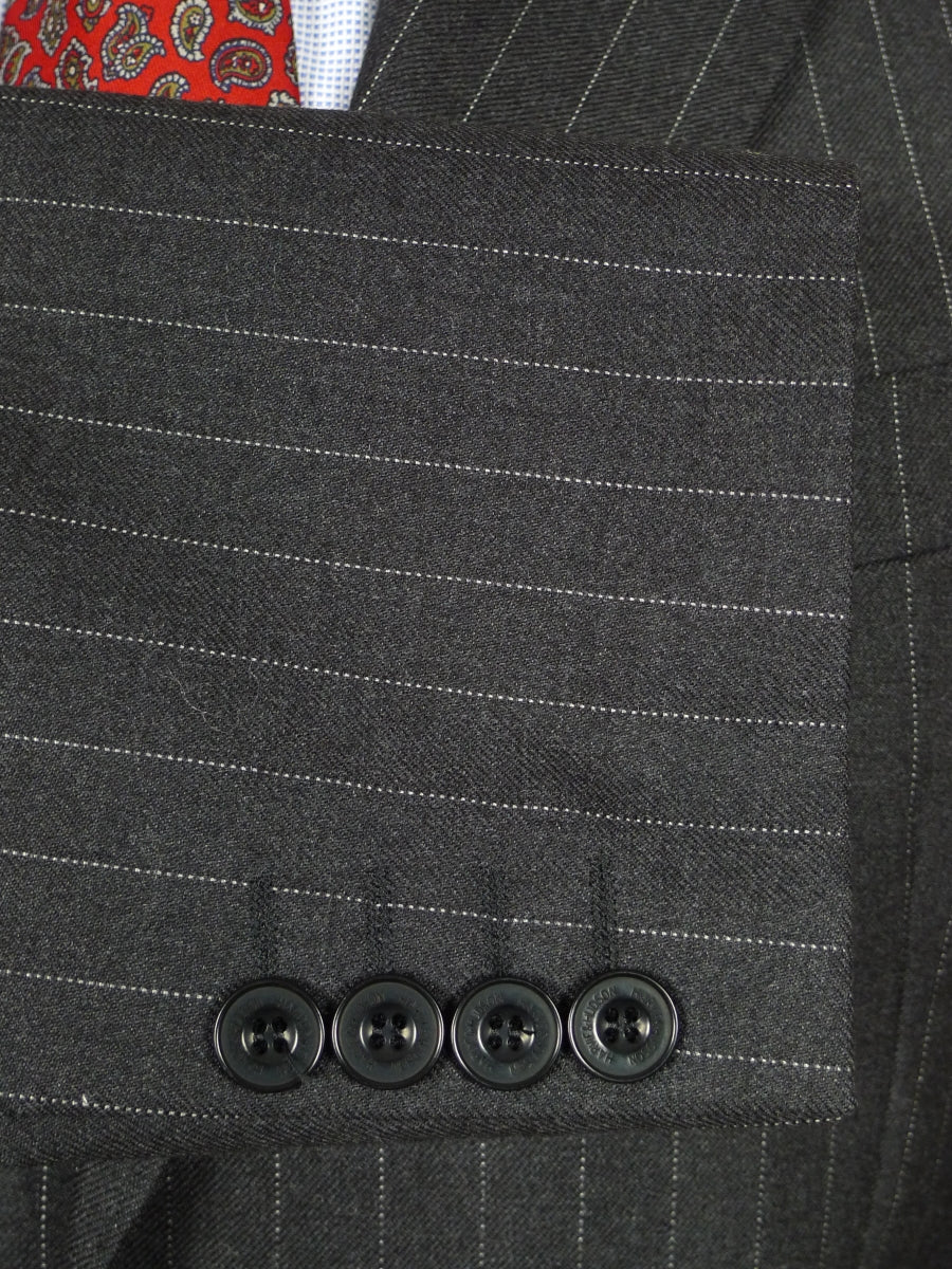 19/1361 harvie & hudson jermyn st grey pin-stripe worsted suit w/ plum linings 42 regular