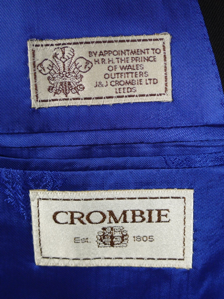 19/1352 immaculate crombie wool cashmere & mink black suit w/ blue linings 46 regular