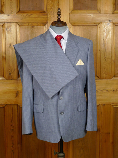 19/1502 vintage 1970s 1980s yves saint laurent grey pin-stripe suit 42 short