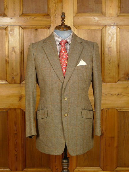 19/1399 vintage 1988 welsh & jefferies savile row bespoke brown wp check tweed jacket 42-43 regular