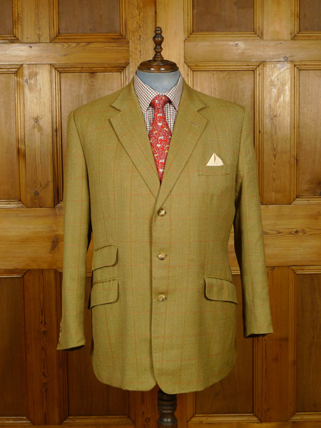 19/1400 welsh & jefferies savile row bespoke tan brown / red wp check wool sports jacket 46 short to regular