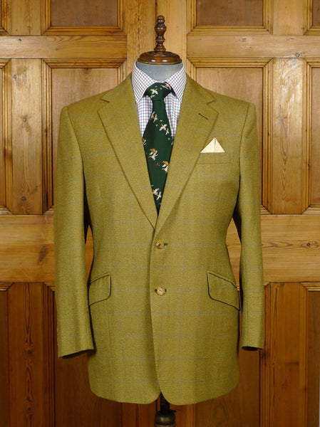 19/1396 immaculate 2000 welsh & jefferies savile row bespoke green / blue wp check tweed jacket 44-45 short to regular