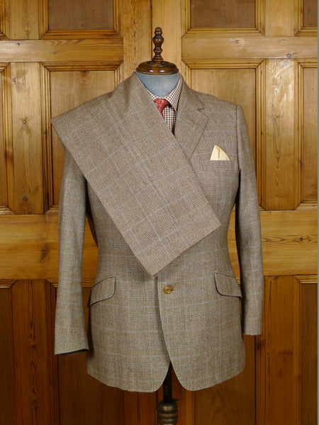 19/1402 vintage savile row bespoke brown / blue prince of wales check worsted flannel 3-piece suit 43 regular