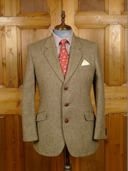 19/1409 near immaculate vintage john g hardy beige brown tweed jacket 41 regular