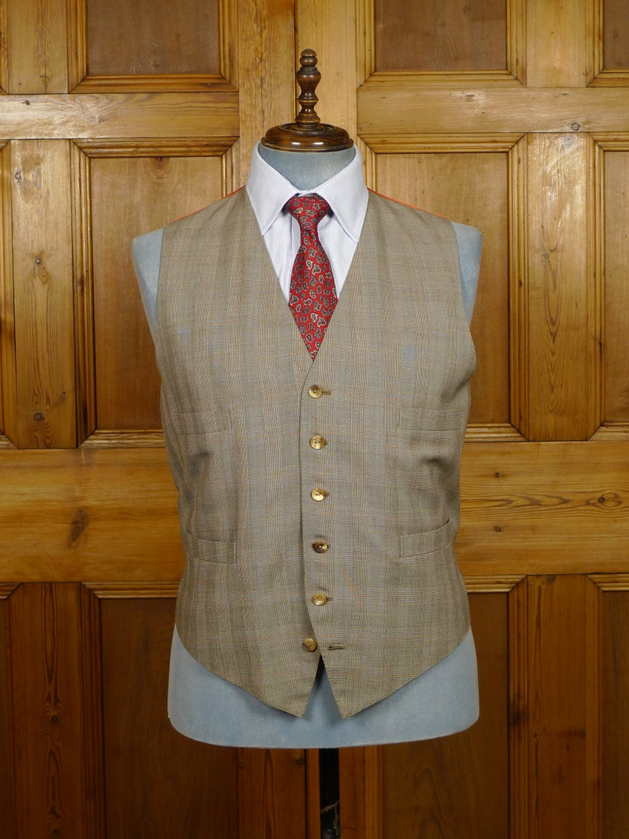 19/1410 welsh & jefferies 2004 savile row bespoke prince of wales check 3-piece wool suit W/ COPPER LININGS 45-46 regular