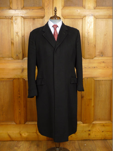 19/1456 vintage wells of mayfair bespoke black cashmere overcoat 45-46 regular