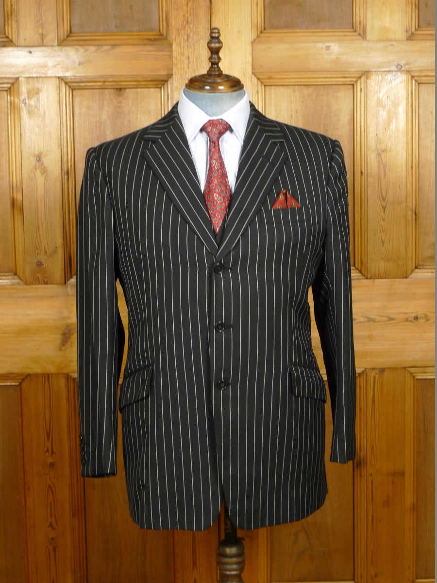 19/1450 WELSH & JEFFERIES 1999 SAVILE ROW bespoke black rope-stripe 3-piece worsted suit w/ red linings 44 regular
