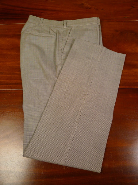 19/1451 bespoke tailored beige brown dogtooth check wool trouser 32
