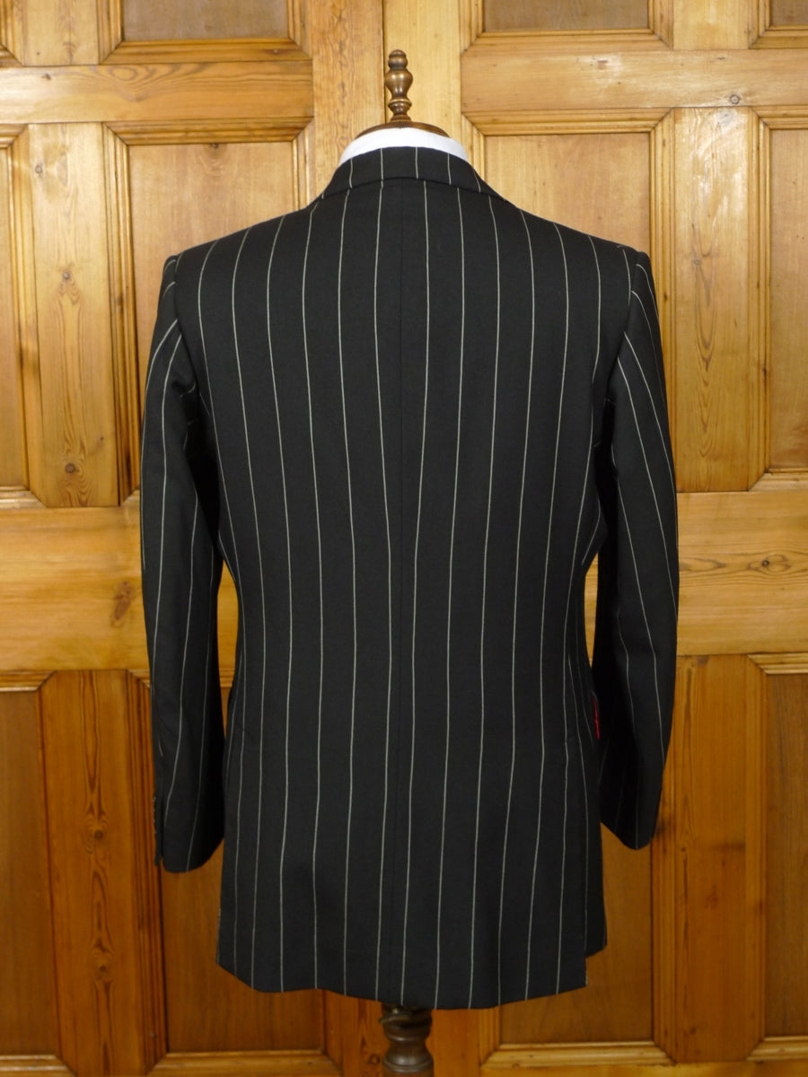 19/1461 vintage 1996 welsh & jefferies savile row bespoke black rope-stripe 3-piece worsted suit w/ red linings 44-45 regular to long
