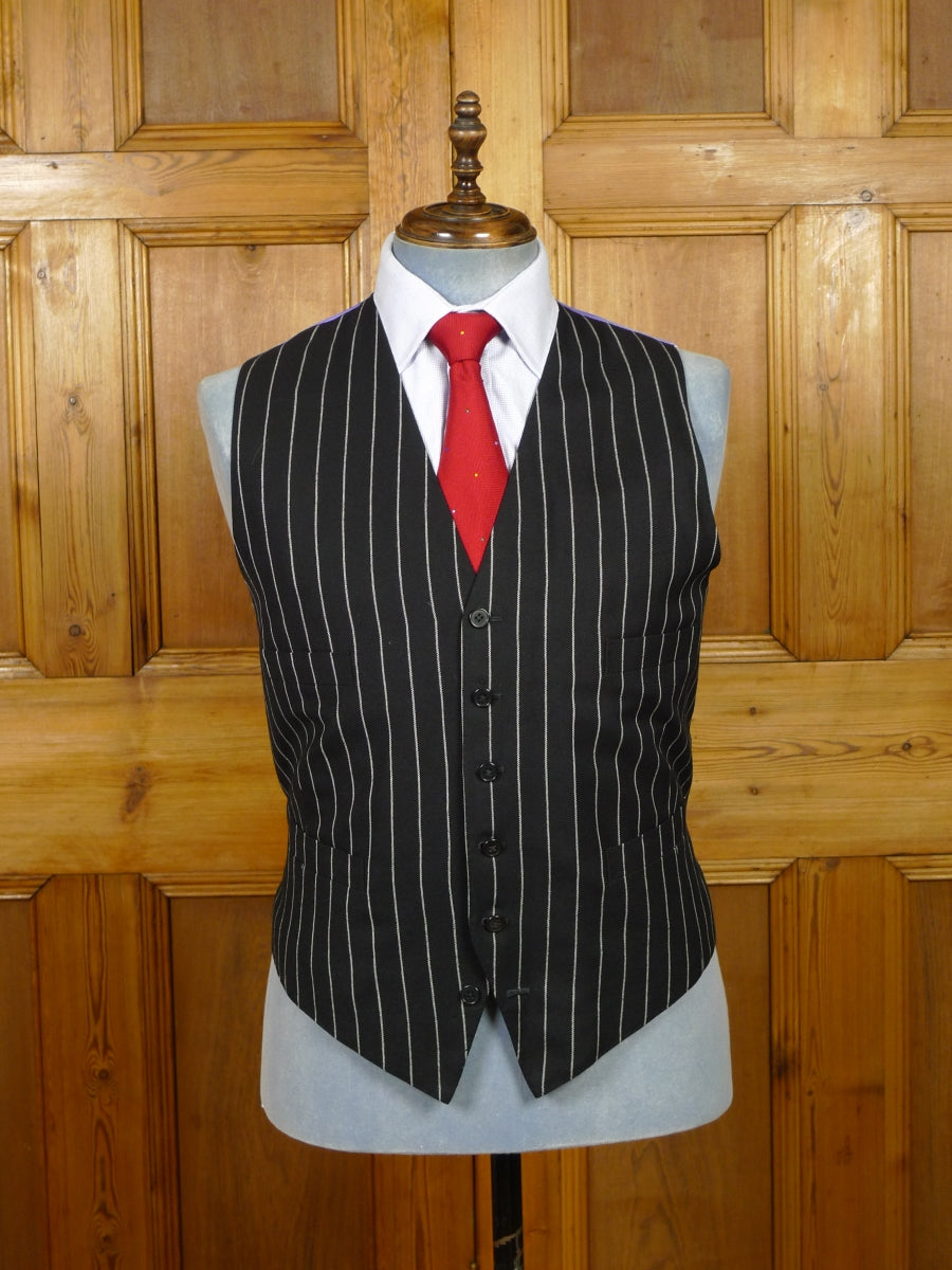19/1465 welsh & jefferies 2004 savile row bespoke black rope-stripe 3-piece worsted suit w/ lilac linings 45 regular